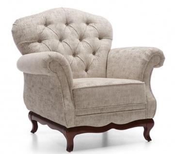 Casa Padrino Luxus Art Deco Chesterfield Wohnzimmer Sessel Greige / Dunkelbraun 99 x 90 x H. 98 cm - Wohnzimmermöbel