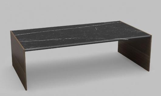 Casa Padrino Luxus Couchtisch Braun / Schwarz 132 x 72 x H. 40 cm - Moderner rechteckiger Massivholz Wohnzimmertisch mit Marmorplatte - Luxus Möbel