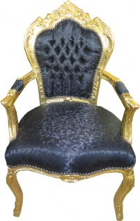Casa Padrino Barock Esszimmer Stuhl Schwarz Ton-in-Ton Muster / Gold mit Armlehnen - Möbel