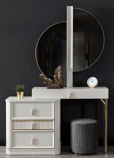 Casa Padrino Luxus Schlafzimmer Schminktisch Set Weiß / Gold / Grau - 1 Schminkkommode mit Spiegel & 1 Hocker - Luxus Schlafzimmer Möbel