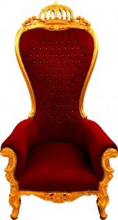 Majestätischer Harald Glööckler Luxus Barock Thron Sessel Pompöös by Casa Padrino Bordeaux / Gold mit Bling Bling Glitzersteinen