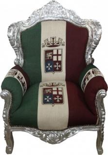 "Casa Padrino Barock Sessel "" King"" Italien / Silber - Möbel Antik Stil"