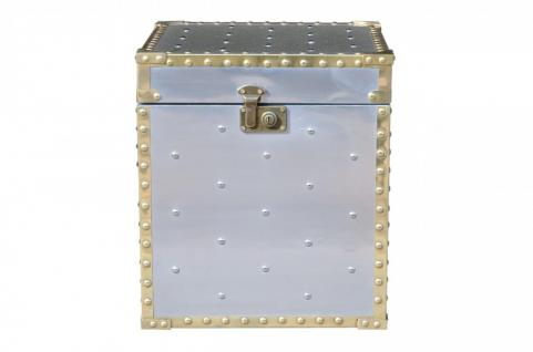 Casa Padrino Luxus Designer Aluminium Beistelltisch / Truhe - Art Deco Vintage Flieger Möbel - Koffer Truhe