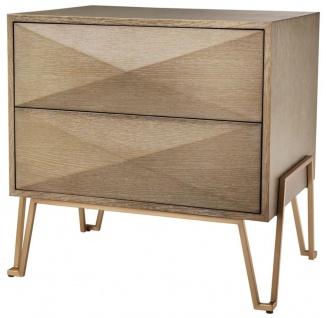 Casa Padrino Luxus Nachttisch mit 2 Schubladen Braun / Messing 62, 5 x 49 x H. 60 cm - Luxus Qualität