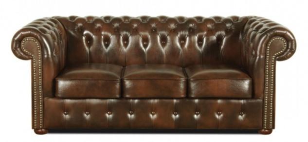 Casa Padrino Echtleder 3er Sofa Dunkelbraun 200 x 90 x H. 78 cm - Luxus Chesterfield Möbel