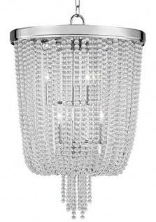 Casa Padrino Luxus Hängeleuchte Silber Ø 46, 4 x H. 70, 5 cm - Runde Pendelleuchte mit Kristallglas