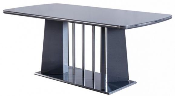 Casa Padrino Luxus Esstisch Blau / Silber 182 x 92 x H. 77 cm - Esszimmertisch - Küchentisch - Edle Esszimmer Möbel