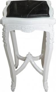 Casa Padrino Barock Beistelltisch mit Marmorplatte Viereckig Weiss Mod W17 70 x 37 cm - Antik Stil