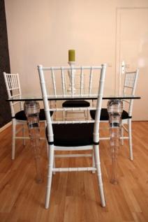 Designer Acryl Esszimmer Set Weiß/Schwarz - Ghost Chair Table - Polycarbonat Möbel - 1 Tisch + 4 Stühle - Casa Padrino Designer Möbel - Vorschau 3