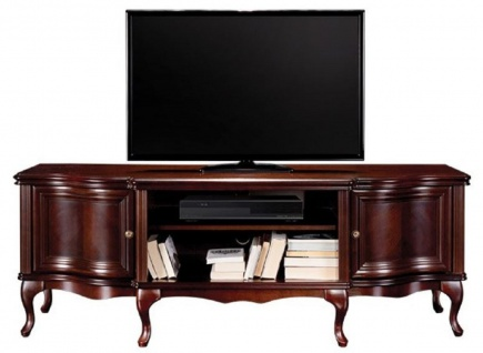 Casa Padrino Luxus Jugendstil TV Schrank Dunkelbraun 176 x 48 x H. 63, 1 cm - Elegantes Massivholz Sideboard mit 2 Türen - Barock & Jugendstil Wohnzimmer Möbel