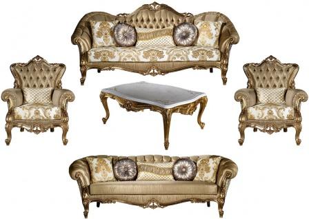 Casa Padrino Luxus Barock Wohnzimmer Set Gold / Weiß - 2 Sofas & 2 Sessel & 1 Couchtisch - Wohnzimmer Möbel im Barockstil - Edel & Prunkvoll