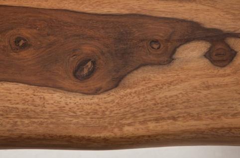 Casa Padrino Designer Esstisch Braun / Silber 200 x 98 x H. 76 cm - Luxus Küchentisch mit massiver Sheesham Holz Tischplatte und polierten Edelstahl Beinen - Vorschau 4