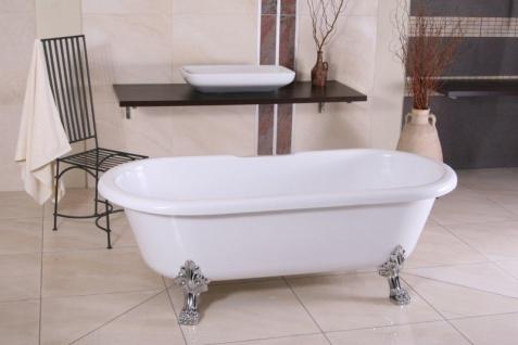 Freistehende Luxus Badewanne Jugendstil Milano Weiß/Silber - Barock Badezimmer - Vorschau 2