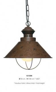 Casa Padrino Hängeleuchte Deckenleuchte Rostfarben Industrial Design 34 cm Durchmesser - Industrie Lampe Leuchte Industrieleuchte