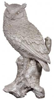 Casa Padrino Luxus Deko Bronzefigur Eule Silber 19 x 15 x H. 36 cm - Versilberte Bronze Skulptur
