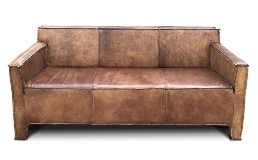 Casa Padrino Vintage Luxus Echtleder Lounge Sofa Braun 185 cm - Luxus Wohnzimmer Leder Couch Möbel Büffelleder