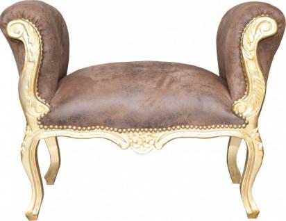Casa Padrino Barock Schemel Hocker Braun / Gold - Sitzbank - Antik Stil - Vorschau 2