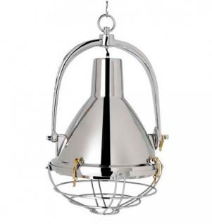 Elegante Industrielampe, Hallenleuchte mit silbernem Schirm Vernickelt Höhe: 82 cm, Durchmesser 48 cm - Industriependelleuchte - feinste Qualität