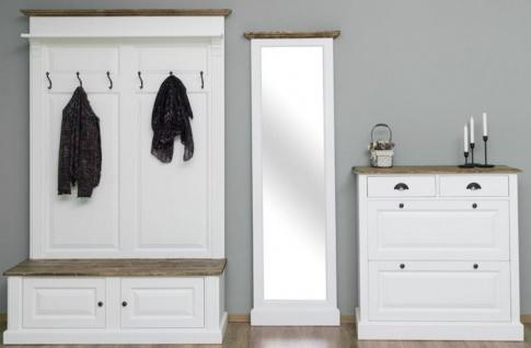 Casa Padrino Landhausstil Massivholz Garderobenmöbel Set Weiß / Braun - Garderobenschrank - Spiegel - Schuhschrank - Möbel im Landhausstil