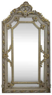 Casa Padrino Barock Wandspiegel Creme Antik Stil / Gold 115 x H. 215 cm - Prunkvoller Barock Spiegel mit wunderschönen Verzierungen - Möbel im Barockstil
