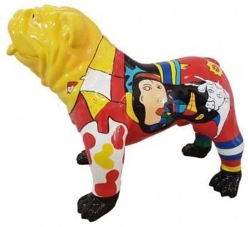 Casa Padrino Designer Dekofigur Hund Bulldogge Mehrfarbig 90 x H. 74 cm - Wetterbeständige Deko Skulptur - Wohnzimmer Deko - Garten Deko - Designer Deko Tierfigur