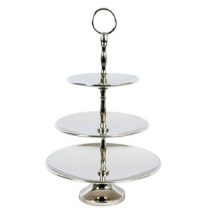 Designer Shine Etagere 3-Stufig aus poliertem Aluminium Durchmesser 30, 5 cm, Höhe 40, 5 - Servierschale - Deko Schale
