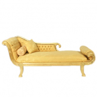 Casa Padrino Barock Chaiselongue Modell XXL Gold Muster / Gold Linke Seite - Antik Stil - Recamiere Wohnzimmer Möbel