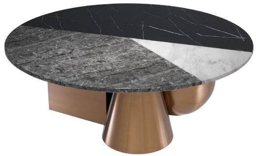 Casa Padrino Luxus Couchtisch Schwarz / Weiß / Grau / Kupfer Ø 120 x H. 42, 5 cm - Runder Wohnzimmertisch mit 3-farbiger Kunstmarmor Tischplatte - Luxus Möbel
