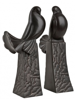 Casa Padrino Buchstützen 2er Set Tauben Antik Bronze Skulptur - Luxus Qualität - Vogel Vögel Skulpturen Set