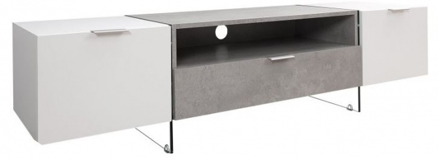 Casa Padrino Luxus Fernsehschrank Weiss / Grau B.160 x H.40 x T.45 - Sideboard - Kommode - Handgefertigt!