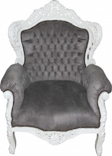 Casa Padrino Barock Sessel King Grau / Weiß 85 x 85 x H. 120 cm - Antikstil