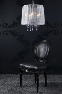 Barock Pendelleuchte mit Kristall-Deco, 5-Flammig, Weiß, Leuchte Lampe Hängeleuchte