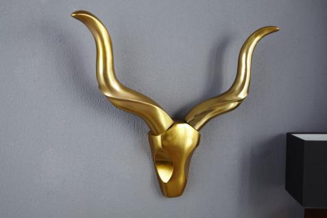Designer Geweih Style Shine Deko Hirsch aus poliertem Aluminium gold - Wandfigur - Geweih - Wandgeweih