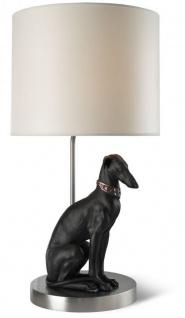 Casa Padrino Luxus Tischleuchte mit Porzellan Windhund Figur Silber / Schwarz 35 x H. 69 cm - Tischlampe mit Handgefertigter & Handbemalter Hunde Skulptur