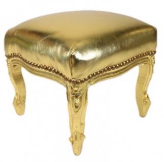 Casa Padrino Barock Fußhocker Gold Lederoptik / Gold - Antik Stil Möbel - Hocker