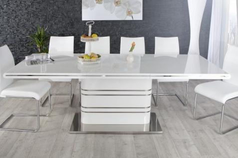 Moderner Yacht Design Esstisch Weiß Hochglanz Ausziehbar 160 - 220 cm von Casa Padrino - Esszimmer Tisch - Vorschau 2