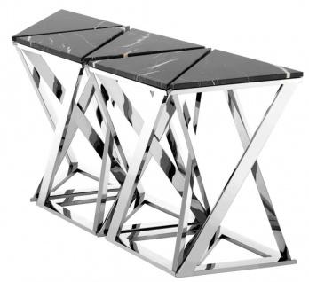 Casa Padrino Luxus Konsolen 5er Set in silber mit schwarzem Marmor 143 x 41 x H. 80, 5 cm - Designer Hotel Möbel - Vorschau 3