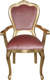 Casa Padrino Barock Luxus Esszimmer Stuhl mit Armlehnen Rosa/Gold - Limited Edition