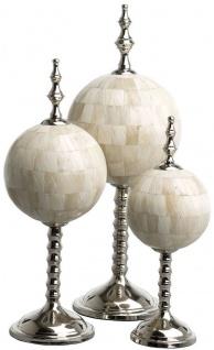 Casa Padrino Luxus Deko Set Naturfarben / Silber - 3 Kugeln aus Naturknochen mit Sockel - Schreibtisch Deko - Wohnzimmer Deko