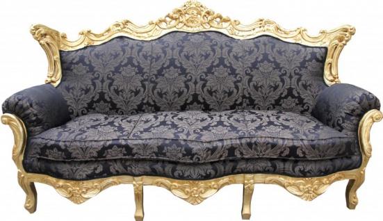 Casa Padrino Barock 3er Sofa Master Schwarz Muster / Gold 2Mod - Wohnzimmer Couch Möbel Lounge
