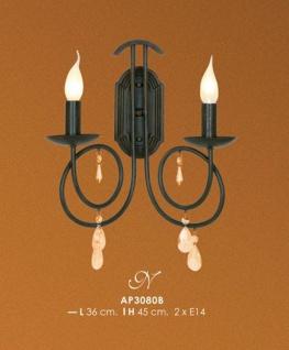 Casa Padrino Barock Wandleuchte mit Kristall-Deco, Schwarz - Leuchte Lampe
