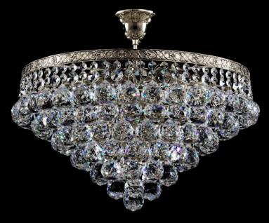 Casa Padrino Barock Kristall Decken Kronleuchter Nickel 46 x H 40 cm Antik Stil - Möbel Lüster Leuchter Hängeleuchte Hängelampe