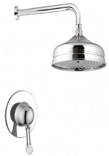 Casa Padrino Luxus Duscharmaturen Set mit Swarovski Kristallglas Silber -  Brauseset - Einhelbelmischer mit Kopfbrause - Badezimmer Duschgarnitur