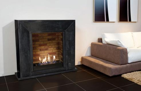 Casa Padrino Luxus Ethanol Kamin mit einem keramischen Bioethanolbrenner Schwarz / Mehrfarbig 119 x 36 x H. 101 cm - Naturstein Kamin mit Steindekor - Vorschau 2