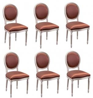 Casa Padrino Luxus Barock Esszimmer Set Creme / Gold / Orange 49 x 43, 5 x H. 98 cm - 6 Esszimmerstühle - Esszimmermöbel - Vorschau 1