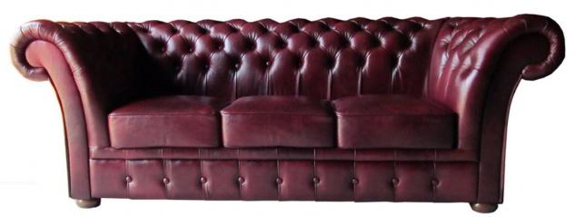Casa Padrino Luxus Echtleder 3er Sofa Dunkelrot 210 x 90 x H. 80 cm - Chesterfield Möbel