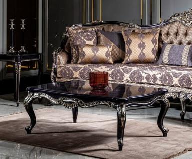 Casa Padrino Luxus Barock Couchtisch Lila / Gold - Prunkvoller Wohnzimmertisch im Barockstil - Handgefertigter Massivholz Tisch - Barock Wohnzimmer Möbel