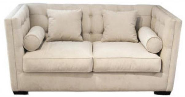 Casa Padrino Luxus Chesterfield Wohnzimmersofa Hellbeige 180 x 100 x H. 85 cm - Couch / Schlafcouch mit 4 Kissen