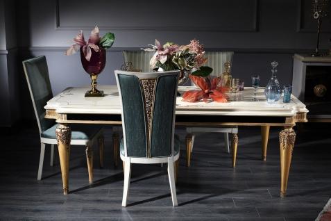 Casa Padrino Luxus Barock Esszimmer Set Türkis / Weiß / Gold - 1 Esstisch und 4 Esszimmerstühle - Barock Esszimmermöbel