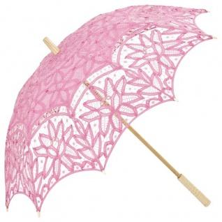 MySchirm Designer Dekoschirm Hochzeitsschirm mit rosa Baumwollspitze - romantischer Dekoschirm